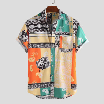 Ethnic Style Printing Abstract Loose Shirts