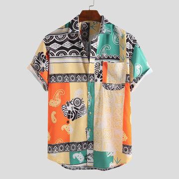Этнический стиль печати абстрактные свободные рубашки