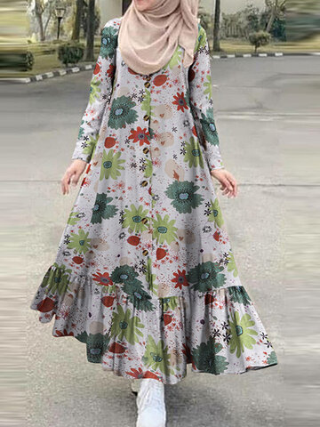 Bohenmia Print Button Ruffled Dress