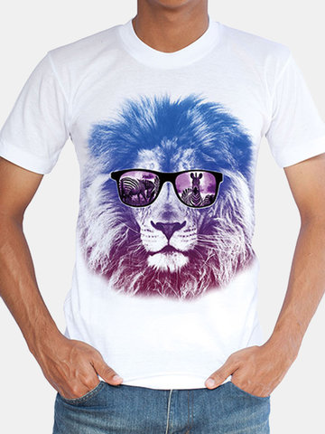 [{}} Herren Atmungsaktives Casual T-Shirt Top 3D Animal Bedrucktes Rundhals Kurzarm T-Shirt [{}} Herren Breathable Casual T-Shirt Top 3D Animal Printed Rundhals Kurzarm T-Shirt