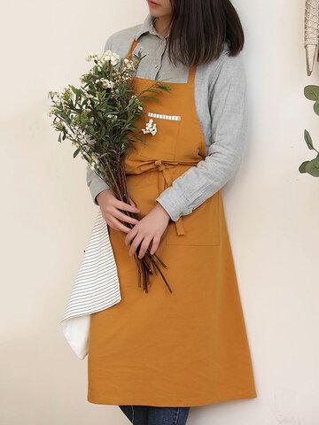 Однотонный хлопковый льняной фартук в скандинавском стиле для протирки рук Кухонный фартук для выпечки с цветочным рисунком