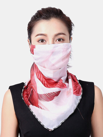 Sunscreen Mask Ear-mounted Scarf Floral Breathable