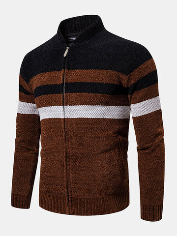 Contrast Color Zipper Knitted Cardigan Sweater