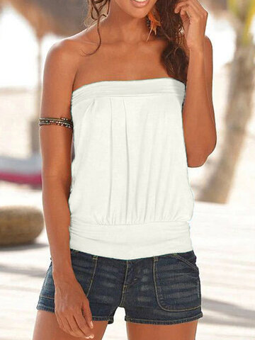 Solid Color Strapless Tank Top