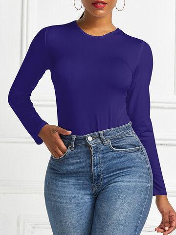 Solid Color Long Sleeve Bodysuit