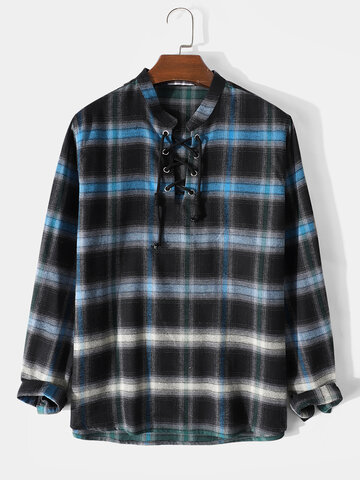 Plaid Ombre Henley Shirts