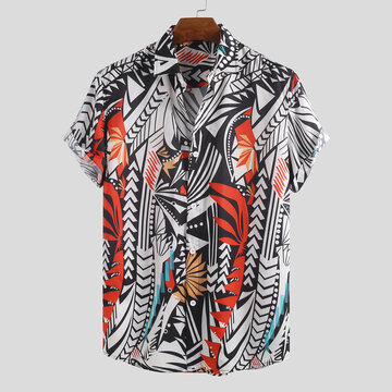 Mens Hit Color Abstract Printing Casual Shirts