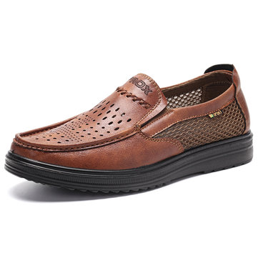 Men Splicing Breathable Causal Leather Shoes
