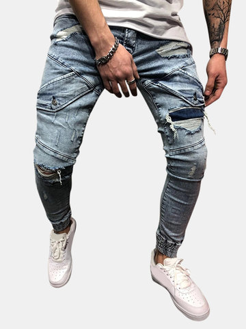 Skinny Stylish Ripped Zipper Design Jean