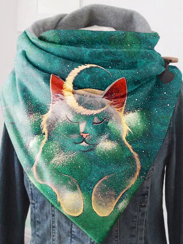 Women Cute Cat Pattern Solid Color Soft Scarf