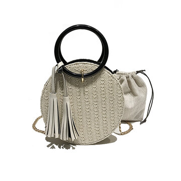 Women Travel Small Round Straw Bag Shoulder Bag