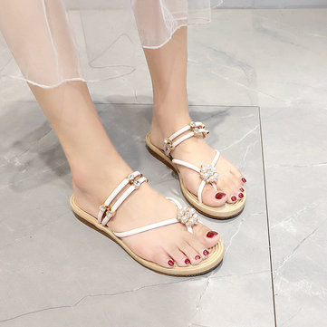 Season Massage Bottom Rhinestone Toe Beach Sandals And Slippers Female Pearl Slip Student Flat With Female Shoes