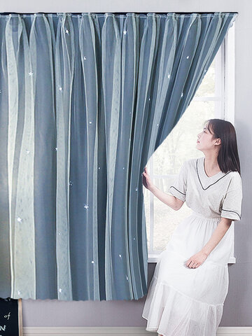 Punch-Free Curtain Rental House Self-Adhesive Shading Cloth  Bedroom Bay Window Screen Curtain