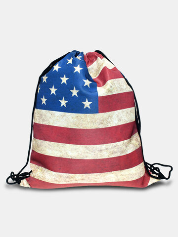Oxford American Flag Drawstring Backpack