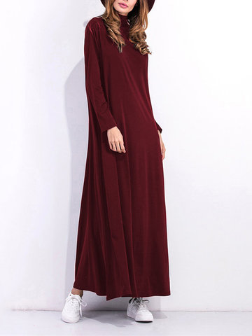 Casual Solid Turtleneck Maxi Dress