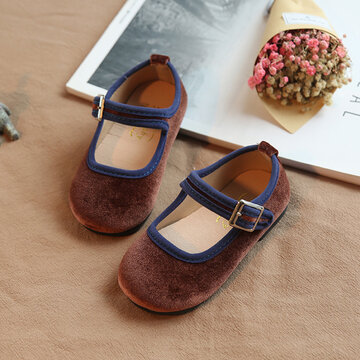 Girls Comfy Soft Sole Hook Loop Mary Jane Loafers