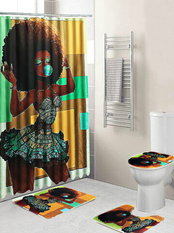 1/3PCS Set Waterproof African Girl Africa Pattern 71x71INCH Shower Curtain + Non-Slip Pedestal Rug + Lid Toilet Cover + Bath Mat