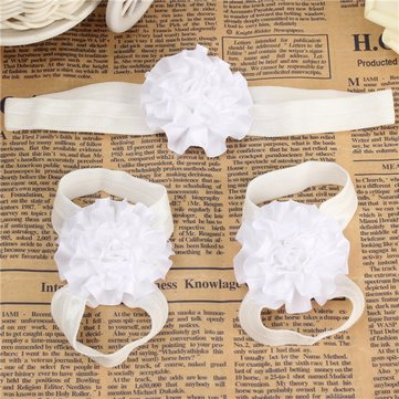 Kids Baby Girl Infants Flower Barefoot Sandals Floral Hairwear Headband Photography Props Set