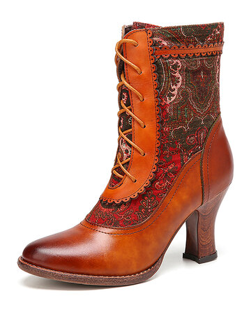 SOCOFY Elegant Pattern Splicing Solid Color Genuine Leather Pointed Toe Stiletto Heel Short Boots