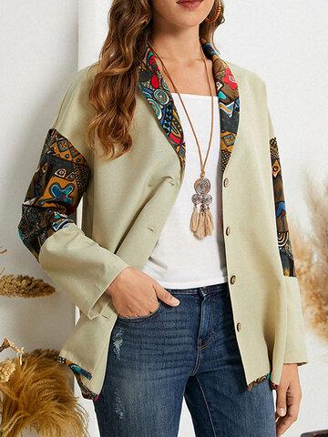 Jaqueta de botão tribal Padrão