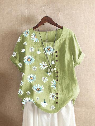 Daisy Flower Printed Vintage T-shirt