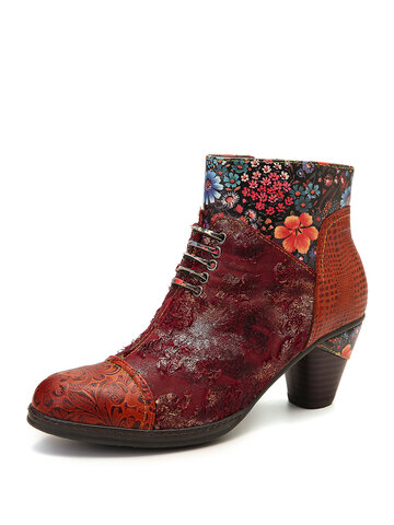 Retro Embossed Leather Splicing Fancy Boots
