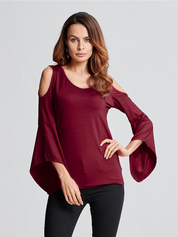 Casual Off Shoulder V Neck Trumpet Sleeve Blouse For Women, Blue wine red black white