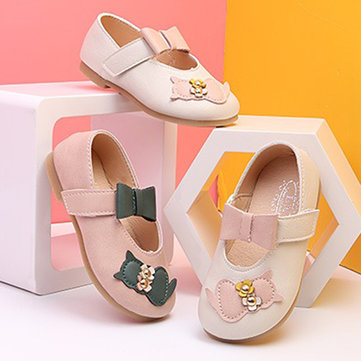 Girls Cat Pattern Bowknot Dress Shoes