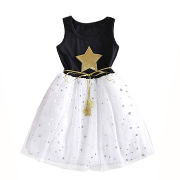 Girls Gold Stars Dress 3Y-13Y