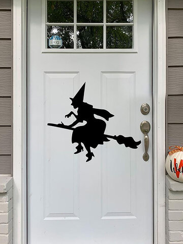 1 PC 5 Styles Halloween Wall Sticker Broom Witch Print PVC Decals Posters Decorative Tools for Wall Window