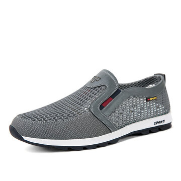 Men Mesh Textile Splicing Breathable Slip On Casual Shoes