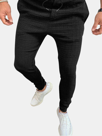 Crease Textured Solid Cuffed Pants