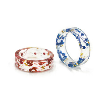 Transparent Dried Flowr Resin Ring