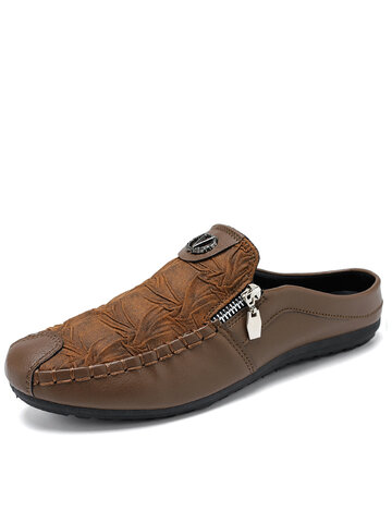 Men Mule Slippers Backless Loafers