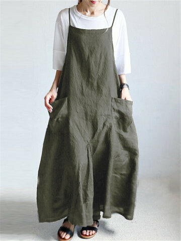 Casual Pockets Solid Color Kleid