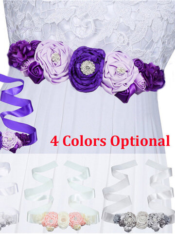 Flower Sash Wedding Dress Waist Belt