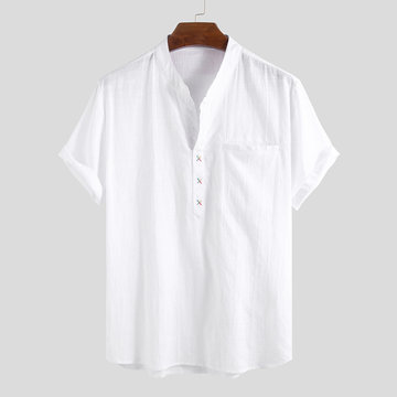 100% Cotton Short Sleeve Plain Henley Shirt