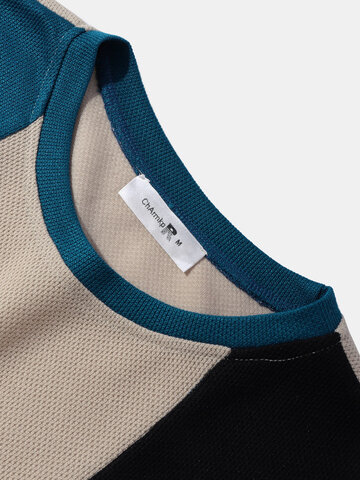 Block Stripe Embroidered Knit T-Shirts