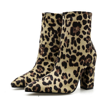 Leopard-print Ankle Boots