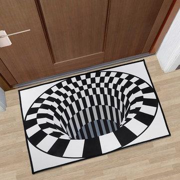 3D diseño negro blanco cuadrados impresión de alfombra