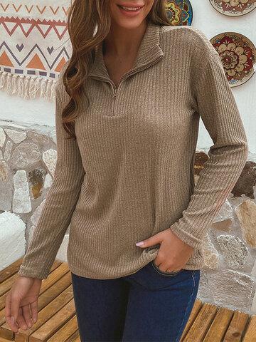 Reißverschluss Fly Solid Color Casual Sweater