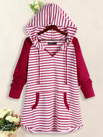 Hooded Striped Baggy Sweatshirts, Light blue red dark blue black