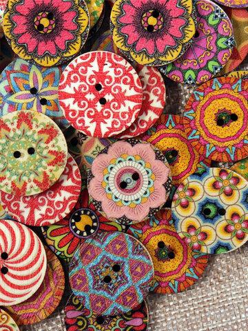 100 Pcs Flower Round Wooden Buttons