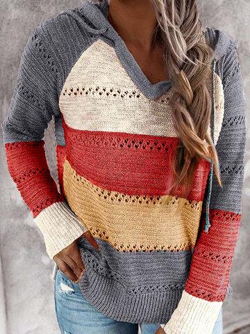 ストライプニットフードセーター