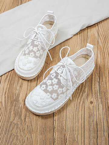 Elegant Lace Breathable Flat Loafers Shoes