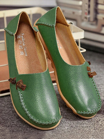 LOSTISY Big Size Soft Multi-Way Wearing Pure Color Flat Loafers