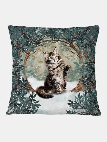 Cat And Tree Pattern Linen Cushion Cover Home Sofa Art Decor Throw Pillowcase