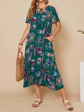 Geometric Calico Print Pocket Dress