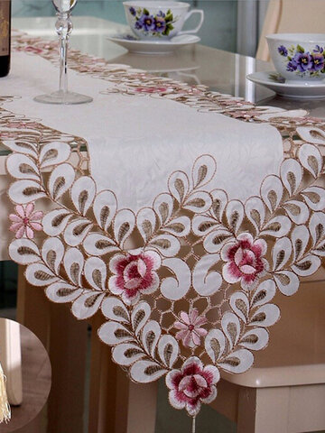 Pastoral Table Runner Flower Tablecloth Wedding Party Home Decorative Mat