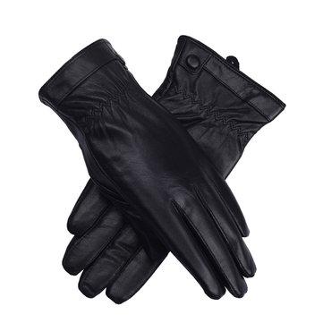 LYZA الرجال النساء جلد طبيعي قفازات الشتاء سميكة الدافئة الدراجات القيادة القفازات يندبروف